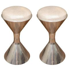 Polished Aluminium Spool Form Stools by Willy Guhl