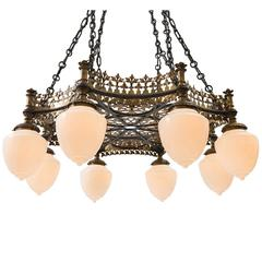 Towering Brass and Wrought Iron Theater Chandelier, circa 1915
