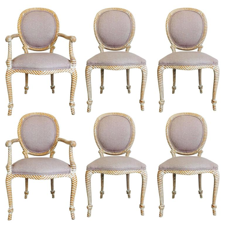 Set of Six Carved Rope Dining Chairs with White Washed Finish