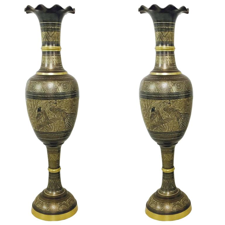 Pair Of Tall Brass Etched Afghan Vases For Sale At 1stdibs