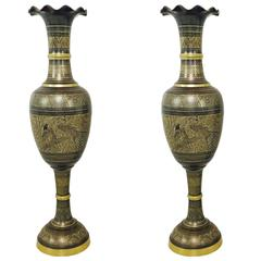 Pair of Tall Brass Etched Afghan Vases