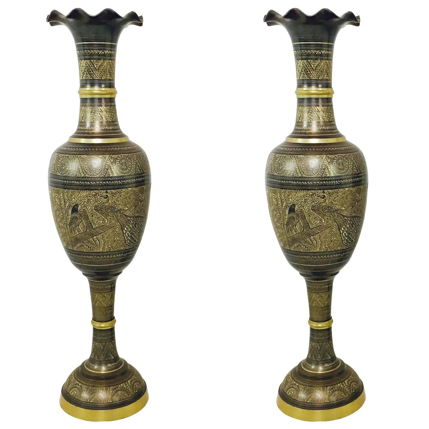 Pair of tall brass etched afghan vases for sale at 1stdibs reviewsmspy