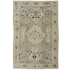 Earthy Vintage Turkish Oushak Carpet with Multi-Medallions and Neutral Colors