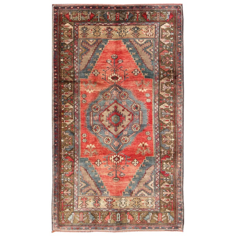 Turkish Konya Rug With Geometric Tribal Design For Sale At