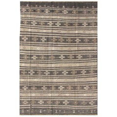 Tribal Turkish Kilim Carpet with Striped Geometric Pattern in Earth Tones