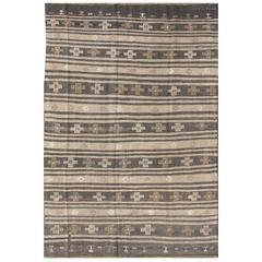 Tribal Turkish Kilim Carpet with Striped Geometric Pattern in Earth Tones