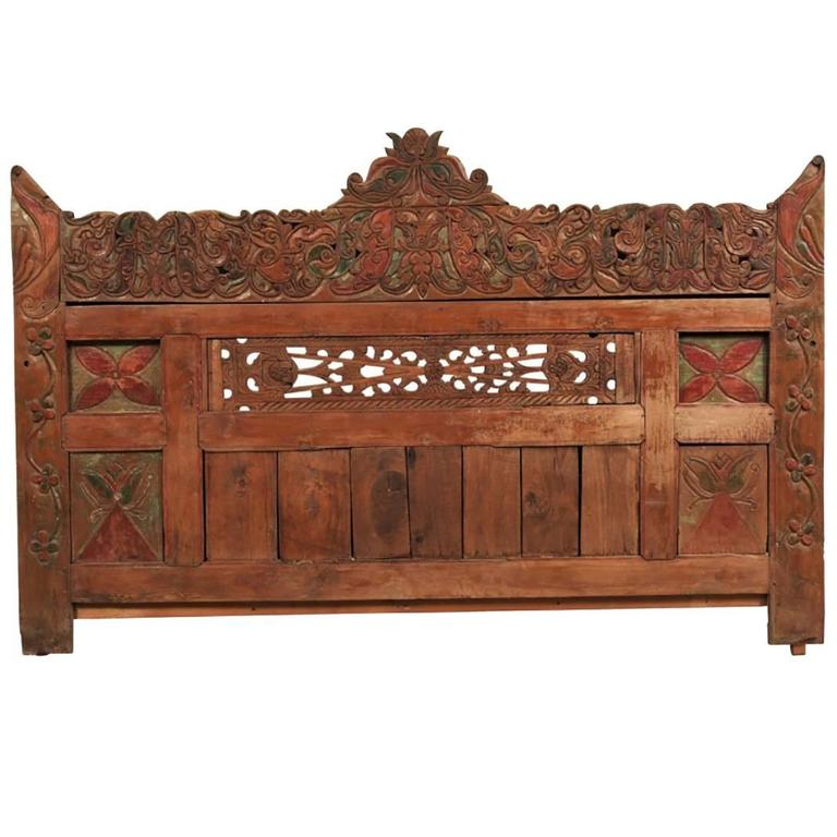 King Headboard Comprised Of Antique Asian Fragments At 1stdibs