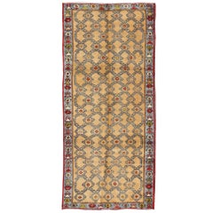 Colorful Turkish Oushak Runner with Striking Yellow Field and Geometric Motifs