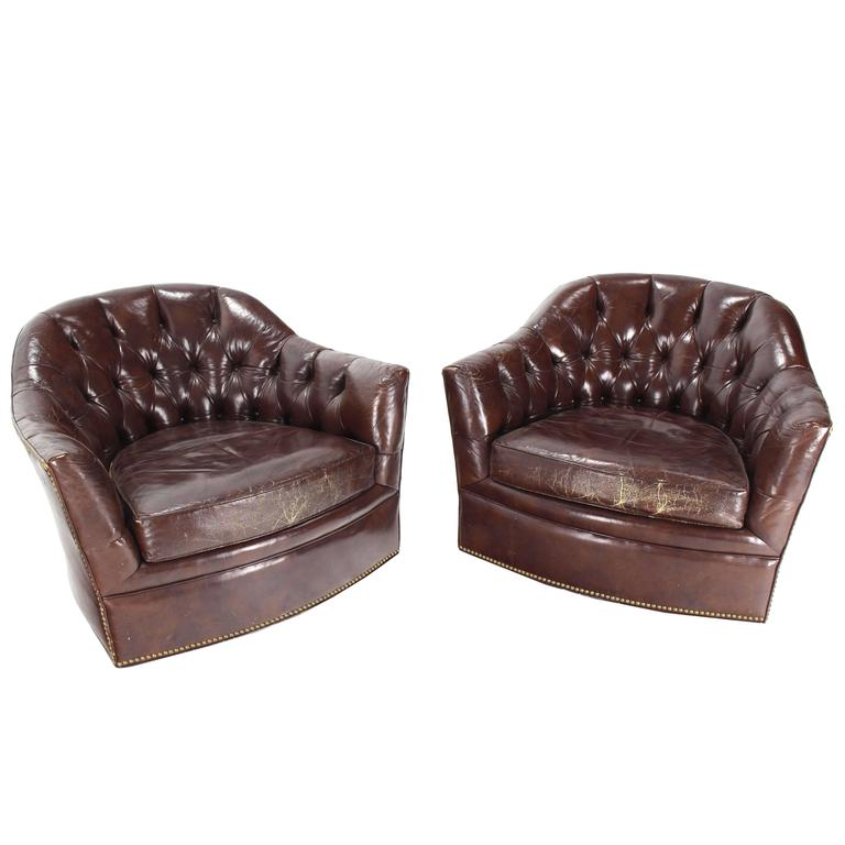 Pair of Brown Shiny Leather Swivel Chairs Tufted Chesterfield Backs Nice Wear