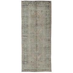 Muted Vintage Turkish Oushak Carpet with Dual-Medallion Design