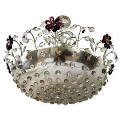 Set of Three Silver Plated Light Fixtures with Amethyst Flowers