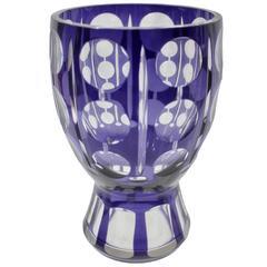 Art Deco Bohemian Crystal Glass Facet Vase Purple Color Is Very Intense
