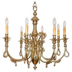 Swedish Eight-Light Cast Brass Chandelier
