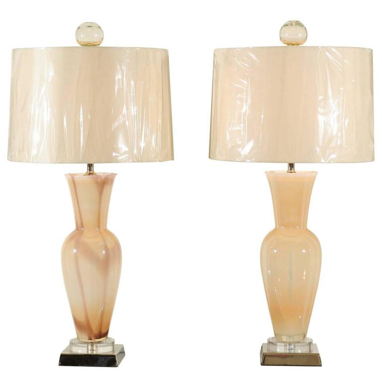 Elegant Restored Pair of Blown Murano Lamps with Custom Orb Finials For Sale