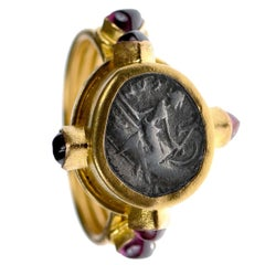 Authentic Ancient Greek Coin Set in 22kt Gold Ring w/ Six Ruby Gem Stone Accents
