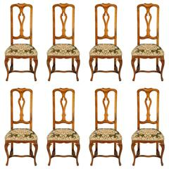 19th Century Antique Venetian Baroque Set of Eight Chairs in Blond Walnut
