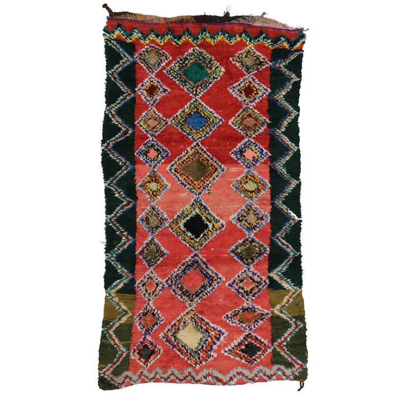 Boho Chic Vintage Berber Moroccan Rug with Modern Tribal Design 1