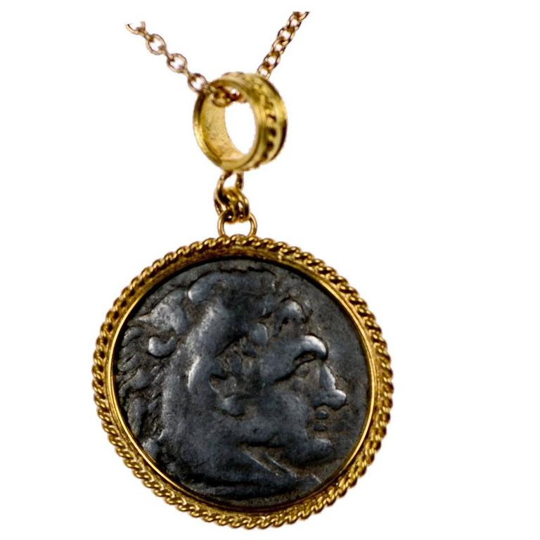 Ancient Greek Coin of Alexander Tetradrachm set in Gold Bezel, circa 336 BC For Sale
