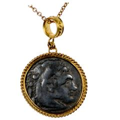 Ancient Greek Coin of Alexander Tetradrachm set in Gold Bezel, circa 336 BC