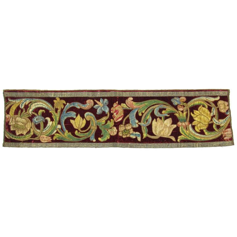 Antique Continental Renaissance Style Floral Embroidered Textile