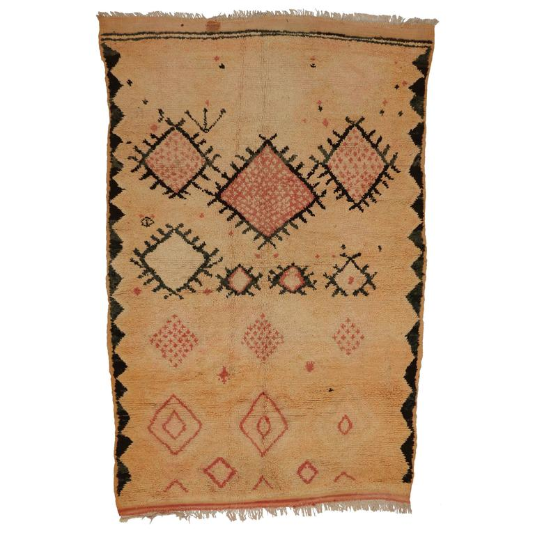 Mid-Century Modern Vintage Berber Moroccan Rug with Tribal Design 1