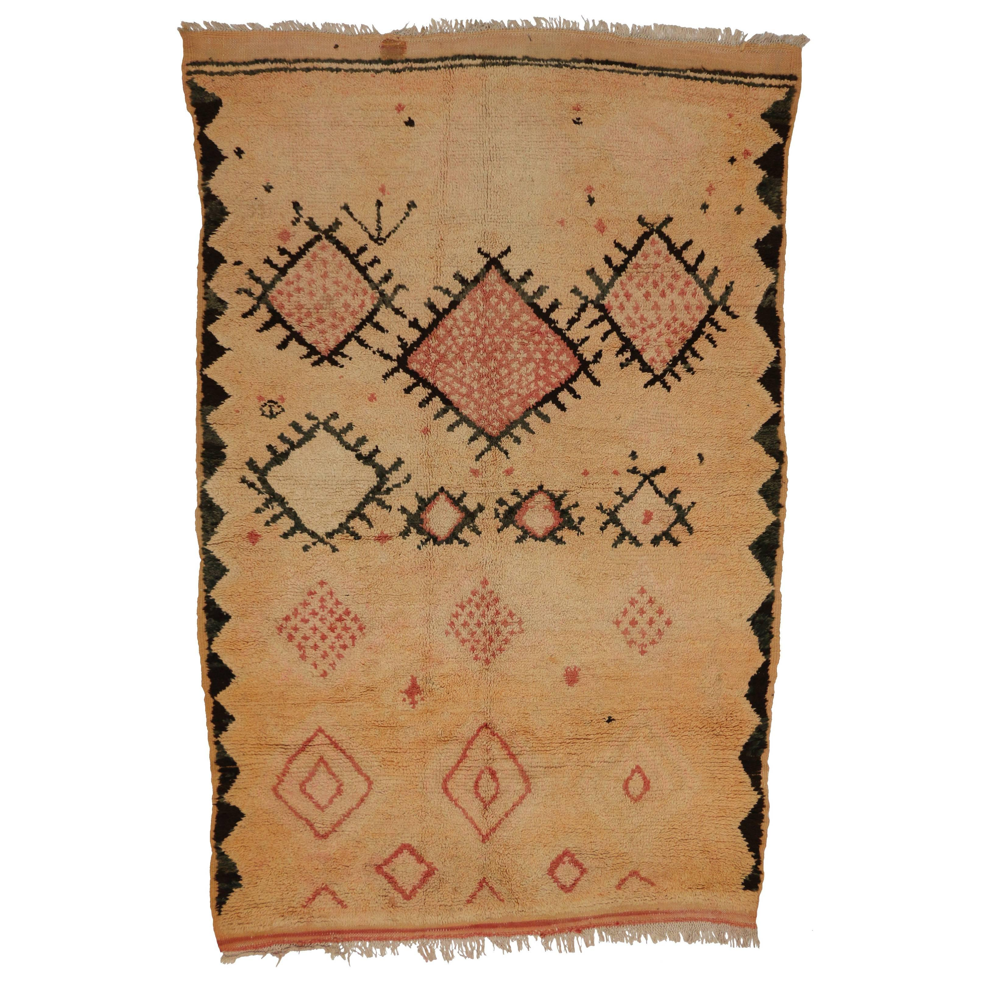 Vintage Berber Moroccan Boujad Rug with Tribal Style and Soft Pastel Colors