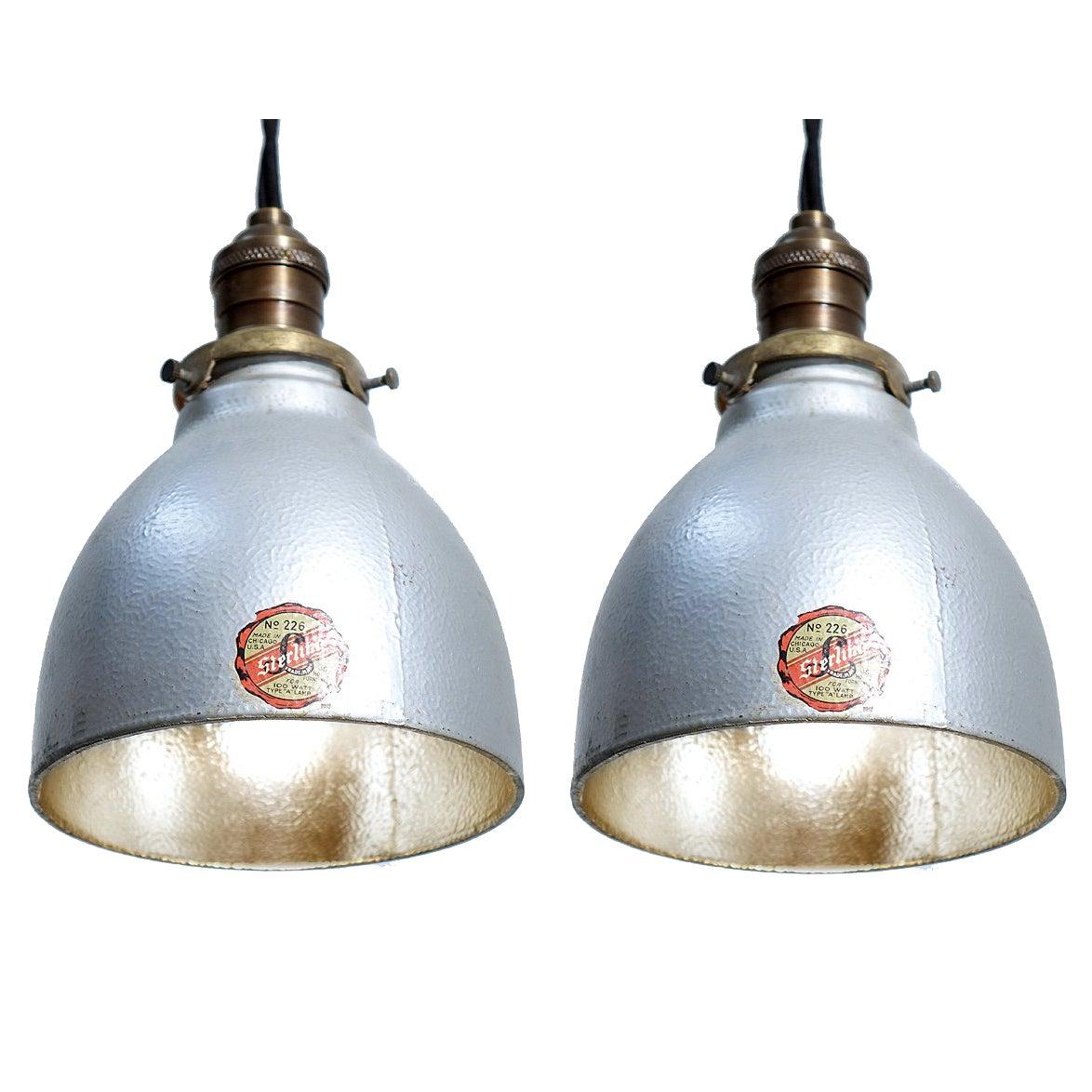 Matching Pair of Original Sterling Mercury Glass Pendants