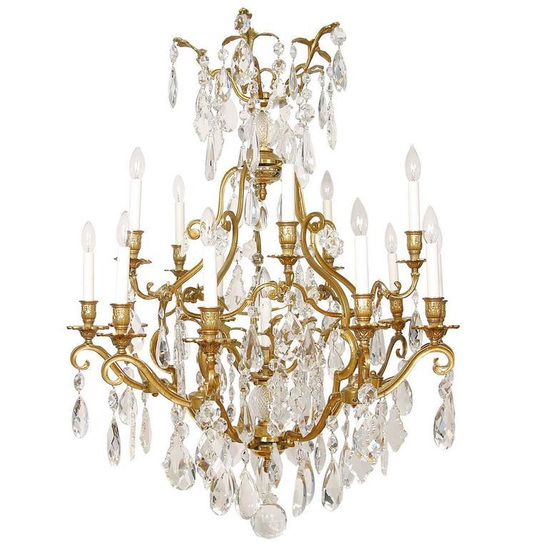 Large, Impressive Louis XV Nineteen-Light Crystal and Gilt Bronze Chandelier