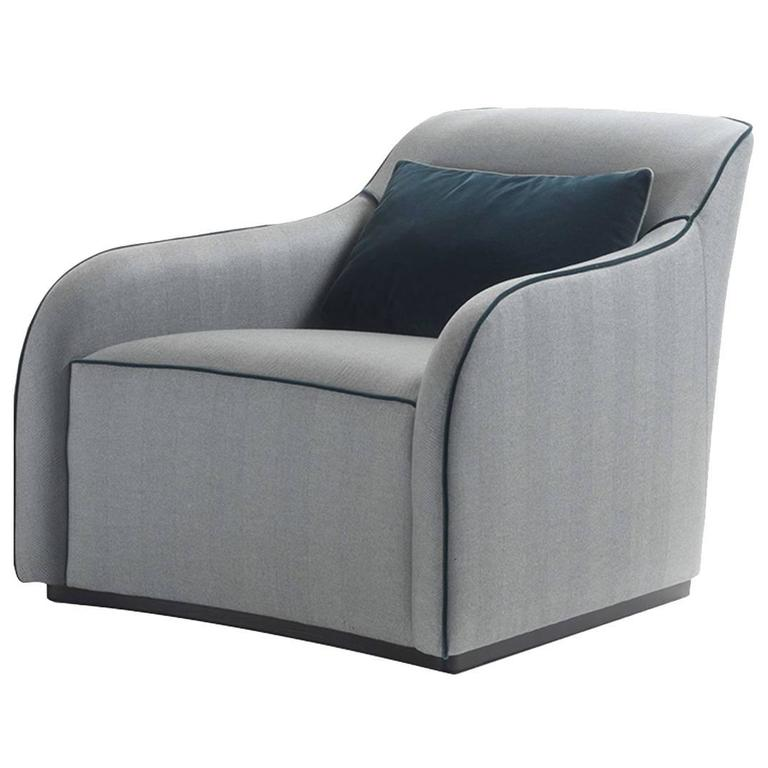 Outstanding Pale Blue Armchair with a Sinuous Design 1