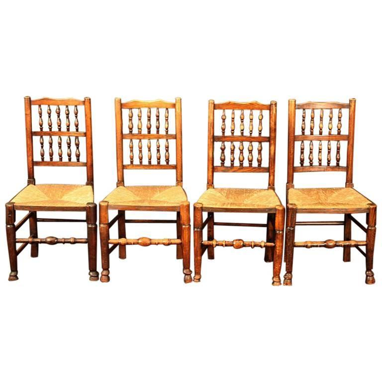 Elegant English Spindle Back Chairs For Sale