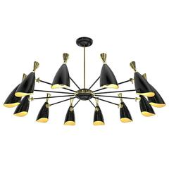 Black Lounge Suspension with Aluminium and Brush Brass