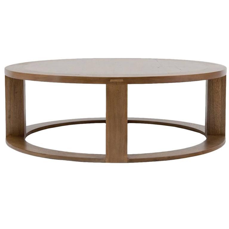 Umstead Oval Engineered Wood Coffee Table: Round Quarter Radius Coffee Table For Sale At 1stdibs