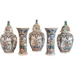 Large Five-Piece Delft Garniture Set