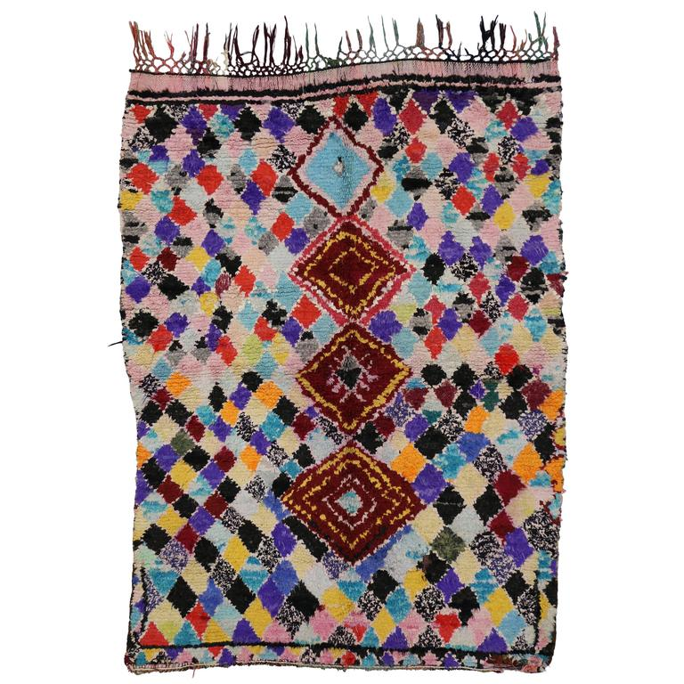 Azilal Vintage Berber Moroccan Rug with Boho Chic Tribal Style