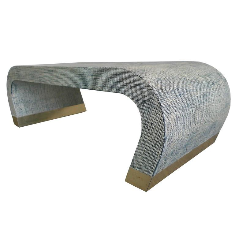 Midcentury Karl Springer Style Linen Wrapped Coffee Table 1