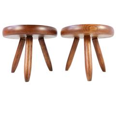 Pair of Charlotte Perriand Low Tripod Ash Tree Stools