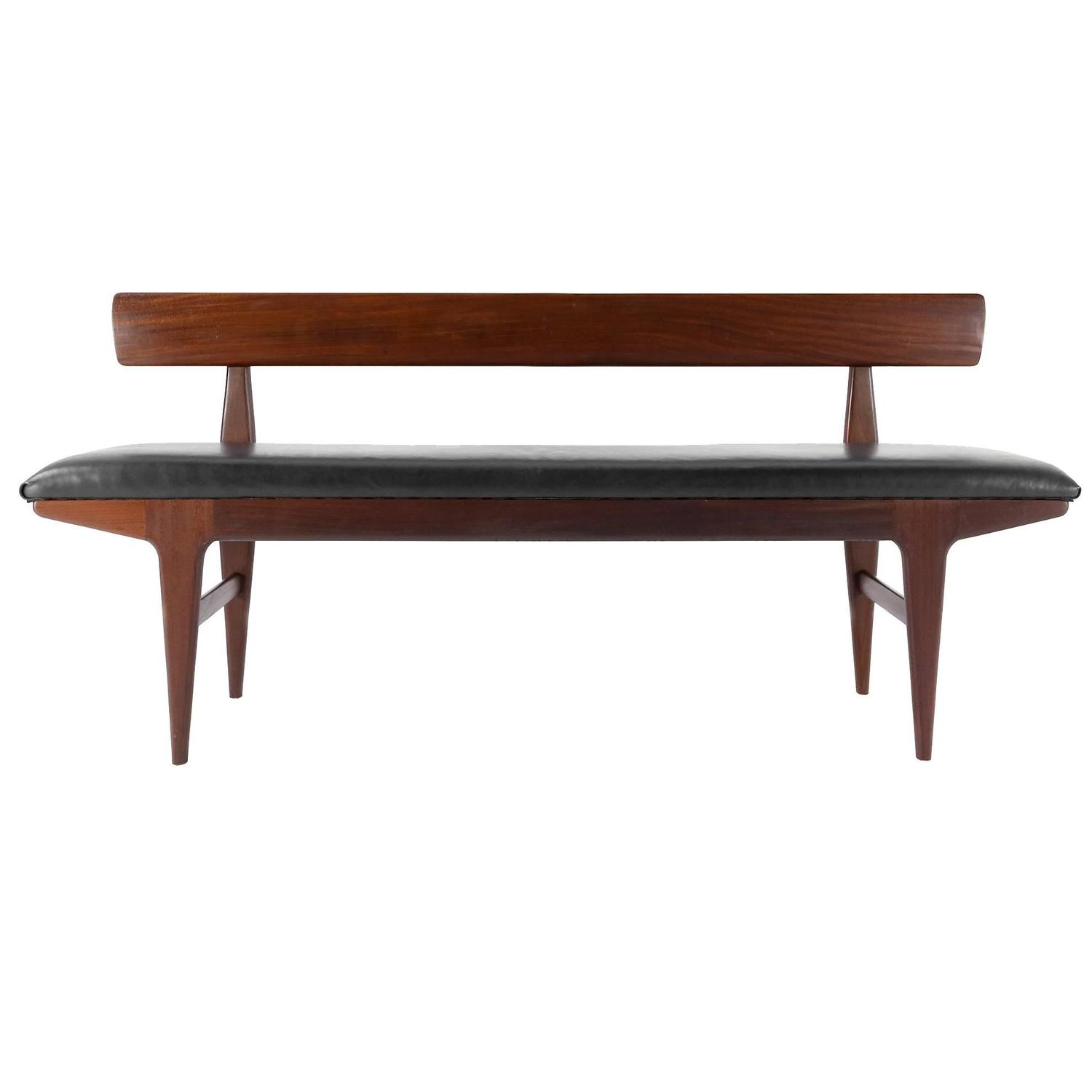 Jens risom floating bench for sale at 1stdibs - Danish Bench In Solid Afrormosia With Leather Seat