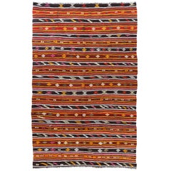 6.7x10 Ft Striped Vintage Kilim, Double Sided Flat-Weave Rug. Floor Covering