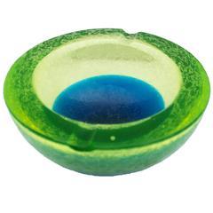 Stunning Barbini Murano Corroso Ashtray Blue and Green
