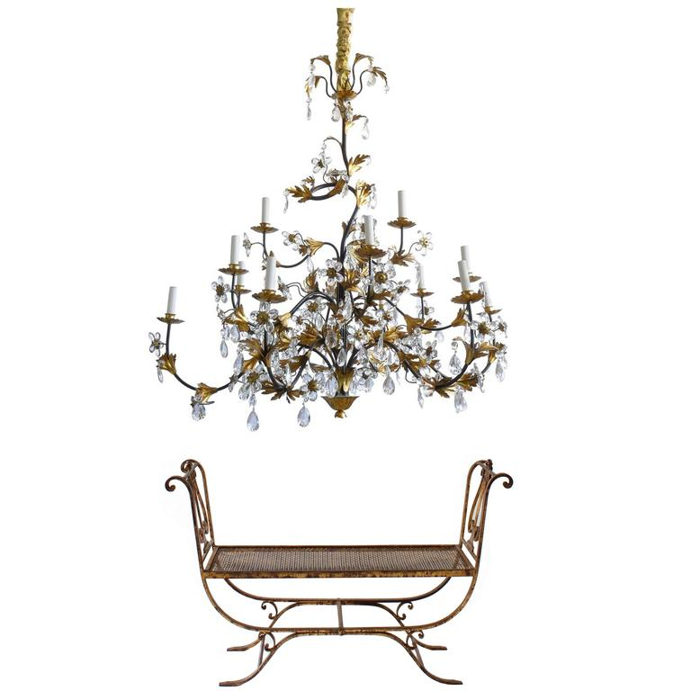 Hollywood Regency Wrought Iron and Crystal Fifteen-Arm Chandelier with Bench