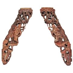 Pair of Antique Carved Wood Figural Corbels