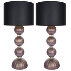 Pair of Gold and Purple Murano Glass Lamps
