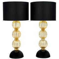 """Pair of Italian """"Avventurina"""" Murano Glass Lamps"""
