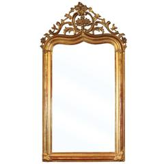 French 1880s Gothic Revival Giltwood Mirror with Carved Crest and Pointed Vault