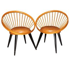 Pair of Italian Vintage 1970s Rattan Club Chairs with Seat Cushion