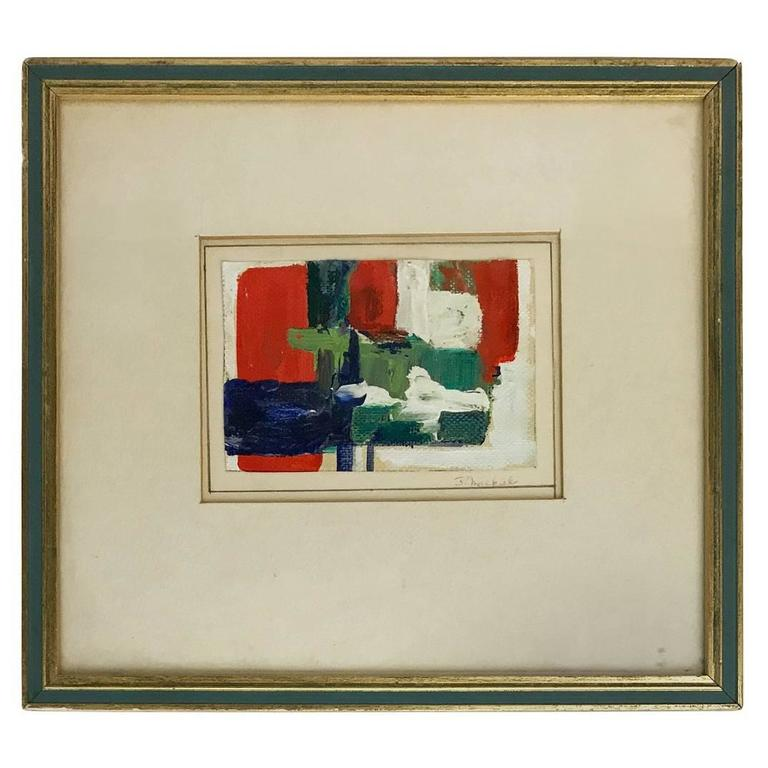 1960s Abstract Laid Canvas Oil Painting in Blue, Green and Red in ...