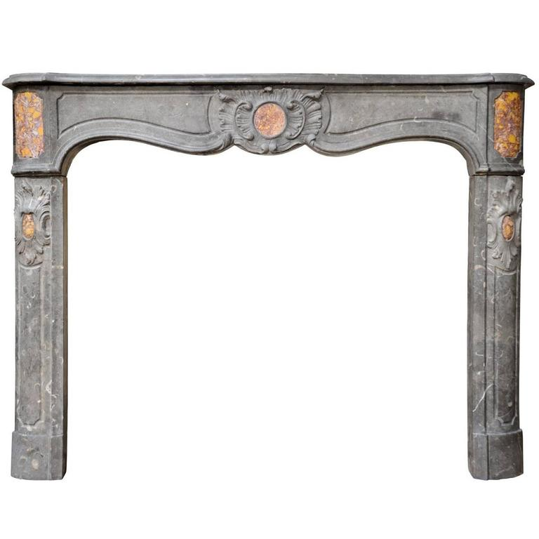 French Regency Period Paloma Gray Marble Fireplace, 18th Century
