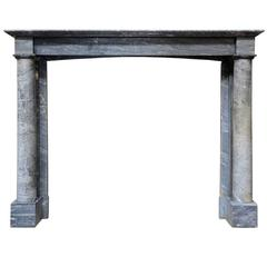 French Empire Period Capella Blue Turquin Marble Fireplace, 19th Century
