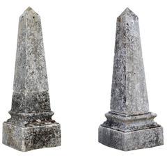 Pair of Molded Stone Obelisks, 19th Century