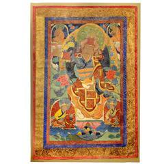 Tibetan Buddhist Thangka Stretched Wall Hanging